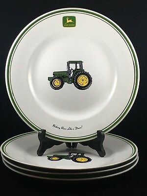 "Set of 4 Gibson John Deere 11 1/8"" Dinner Plates Nothing Runs Like a Deere"