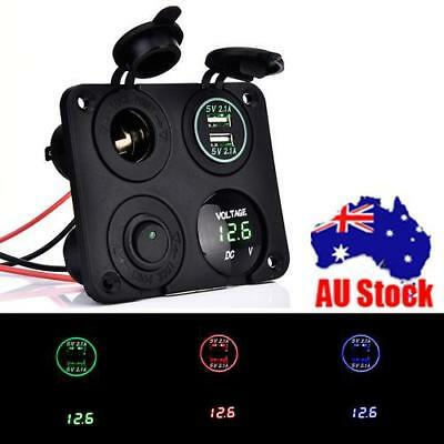 Dual 2 USB Car Charger+LED Voltmeter+12V Power Socket+On-Off Switch 4in1 Panel