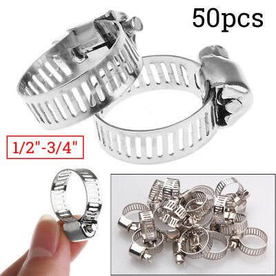 "Stainless Fuel Hose Clamps Steel Adjustable Drive Tight Silver 50pcs 1/2""-3/4"""