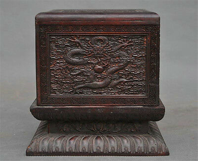 """6"""" Old Chinese Huanghuali Wood Hand-Carved 5 Dragon Ancient Seal Stamp Box Boxes"""