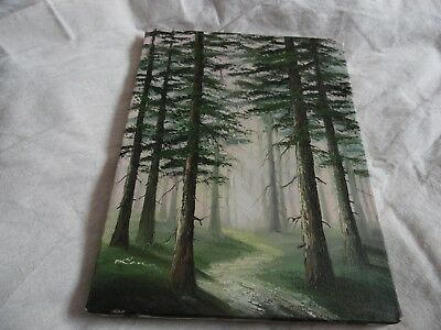 "Pine forest and footpath Oil Painting not framed 9"" x 12"""