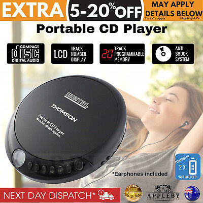 Thomson New Portable CD Player Music Player Walkman Discman Earphones Included