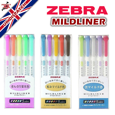 *UK Dispatch* Zebra Mildliner Soft Colour Highlighter Markers 3 Set Types
