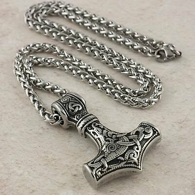 Viking Necklace Thors Hammer Mjolnir Stainless Steel Pendant With Curb Chain