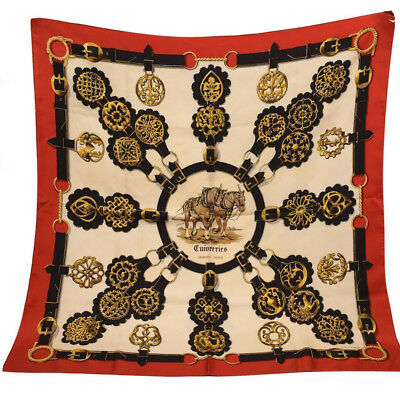 HERMES Scarf Cuivreries Red, Black & White Silk Square