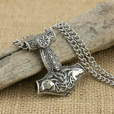 Viking Necklace Goat Thors Hammer Stainless Steel Pendant With Curb Chain