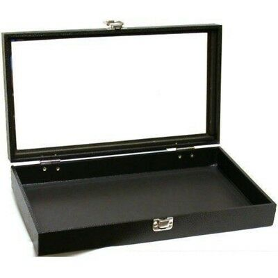 Jewelry Travel Showcase Countertops Dust Free Display Glass Lid Case Black