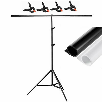 Backdrop Stand  4 Clamp + PVC Matte Dual Side Photography Black white Background