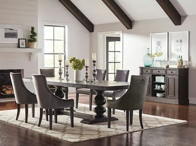 Formal Black 10 Foot Dining Table Grey Velvet Demi-Wing Chairs Furniture Set
