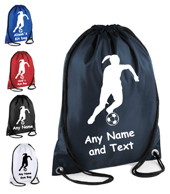 Personalised Drawstring Bag FOOTBALL Player School PE Gym Kit Sports Girls Gift