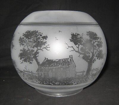 Kerosene Oil Acid Etched 4 Inch Straight Fitter Scenic Lamp Shade Houses Cows