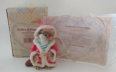 Enesco Calico Kittens 'Jolly Old st. Nicholas' #144630 Figurine