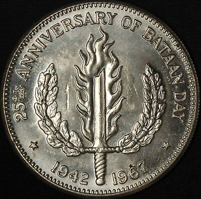 1967 Philippines One Peso - 25th Bataan Day - Free Shipping in USA