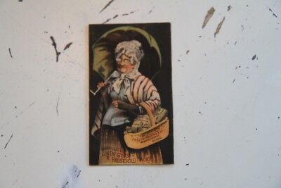 circa 1880 trade card; G.A.W. Risley & Co. Linen Soap, old maid with basket
