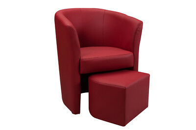 Gelso Poltrona con pouf in PVC ROSSO