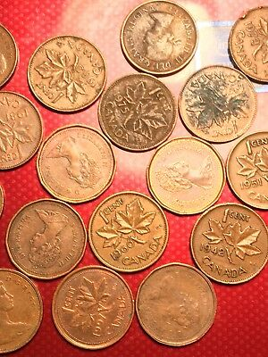 Several Canadian coins from 1952 to 1998 is a mix of coins in good condition.