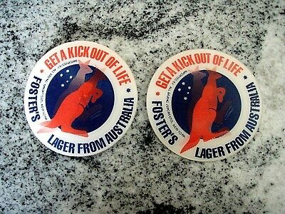 "Lot of 2 Fosters Beer Pins, Collectible RARE Holo Badge ""Get A Kick Out Of Life"""
