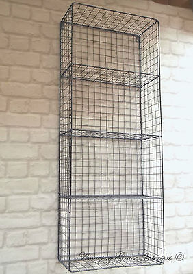 Vintage Industrial Style Metal Wall Shelf Unit Rack Storage Cabinet Wire NEW