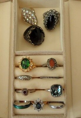 Vintage Jewellery Job Lot Collection of 12 x Rings   Couple Silver 925