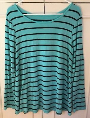 JUSTICE Girl's Size 20 Long Sleeve Top T-Shirt Stretchy Teal Blue Black Stripes