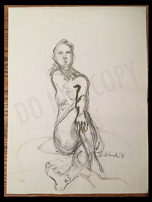 Original Life Drawing Nude Female Figure Charcoal Sketch Signed