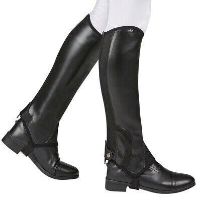 Saxon Synthetic Equi Leather Show Gaiters CHILDS Horse Riding Half Chaps ALL SIZ