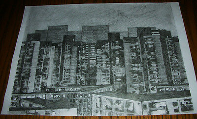 Beijing Bei Si Huan Lu ORIGINAL CITYSCAPE PENCIL DRAWING  by A. ALAIN New