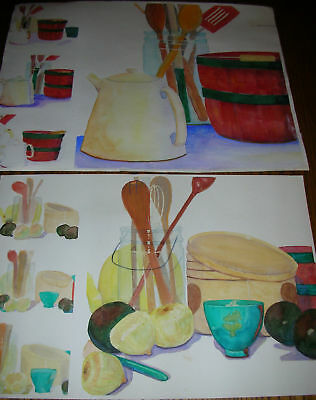 Two (2) Original Watercolor Paintings of Kitchen Utensils