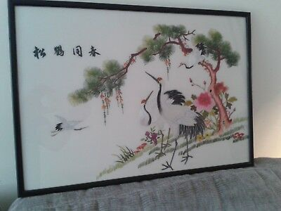Beautiful Vintage Signed Chinese Silk Picture With Storks