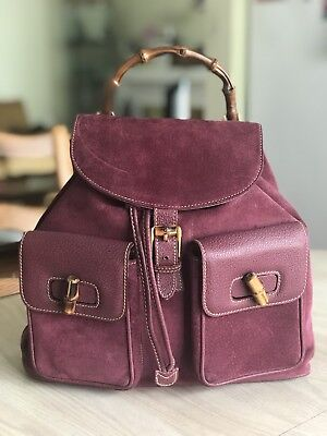 VINTAGE GUCCI VIOLET SUEDE LEATHER BACKPACK w/BAMBOO HARDWARE