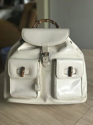 Vintage Gucci Ivory White Padded Leather Backpack