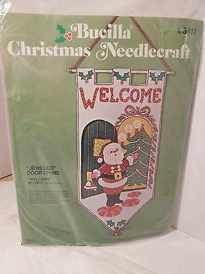 Bucilla Christmas Stamped Felt Welcome Banner Santa Claus Jeweled 18 X 10 NEW
