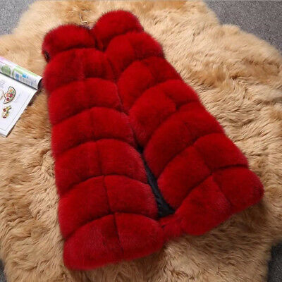Winter Gilet Faux Slim Vest Womens Coat Fur Overcoat Long Warm Fashion Outwear