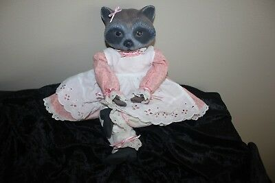 Vintage 1991 GARRY SHARPE Hand Painted Ceramic Raccoon Doll Handmade Clothes 13""