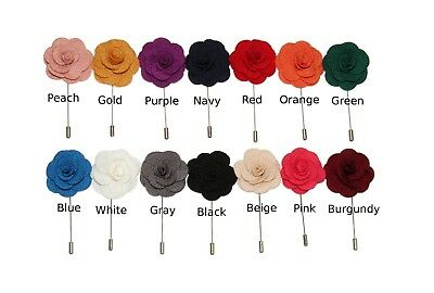 Choose 1 New Microfiber Floral Lapel Stick Pin | Navy / Red / Pink / Blue