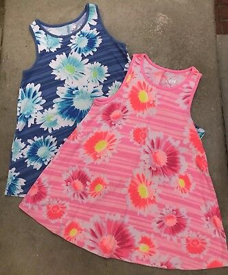 Justice Girl's Tank Tops Ribbed Cotton Floral Stripes Pink Blue Flared SZ 16 Lot