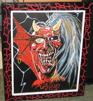 Iron Maiden Purgatory Hand Painted Oil Painting And Hand Carved Frame