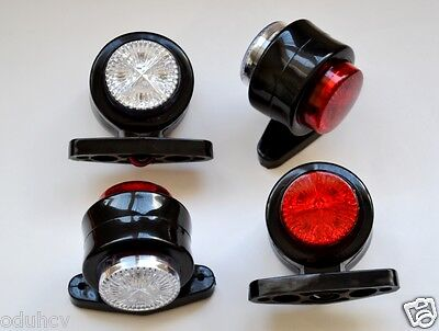 4 pcs x Trailer Mudguard Towing Red / White LED Marker Lights 24V Truck Camper