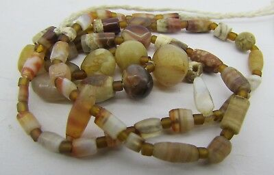 Ancient 51 tiny Carnelian and Chung dzi agate rare beads from  Afghanistan.