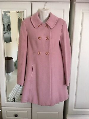 Gorgeous M&S Coat Size 10 Pink 75% New Wool 20% Polyamide 5% Cashmere Women's