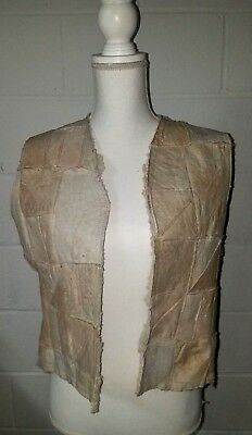 Vintage 1960's Beige Blocked Suede Leather & Sherpa Hippie Far Out Boho Vest