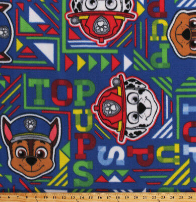 Paw Patrol Top Pups Marshall Chase Rescue Dogs Blue Fleece Fabric Print A326.16