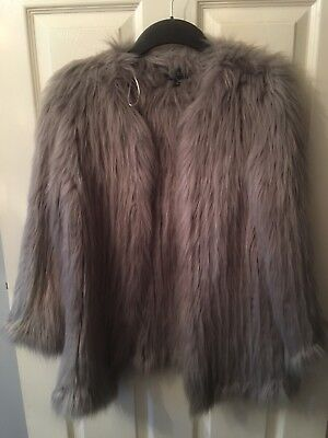 River Island Grey Knitted Fur Jacket Coat 10