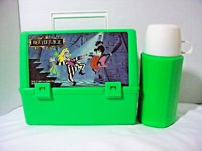 Vintage Beetlejuice Cartoon Lunchbox and Thermos Set 1990 Lydia Deetz Canadian