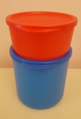 NEW TUPPERWARE STACK ROUND CANISTER CONTAINER STORAGE SET(2).1.1 LITRE & 530 Ml