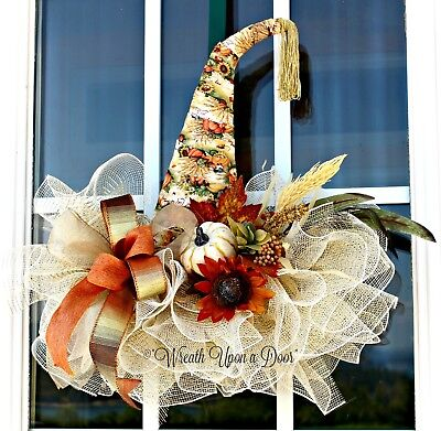 Fall Harvest Witch Hat, Fall Harvest Decor,Front Door Fall Witch Hat,Porch Decor