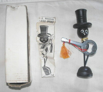 VTG 1960s Barware Bar Musician Black Americana Banjo Bottle Opener APCO Japan