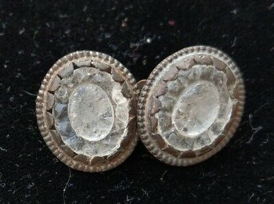 Antique 18th Century Georgian Carved Rock Crystal Paste Cufflink Cuff Button