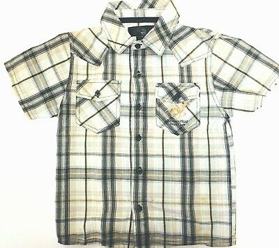 Beverly Hills Polo Club Boys Black Leaf Button Up Long Sleeve Shirt MSRP $28