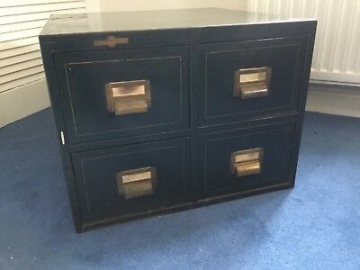 Antique, retro vintage 1937 Roneo Ltd small metal 4 drawer card filing cabinet